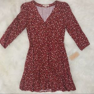 NEW RED FLORAL MIDI BUTTON UP DRESS SIZE S…